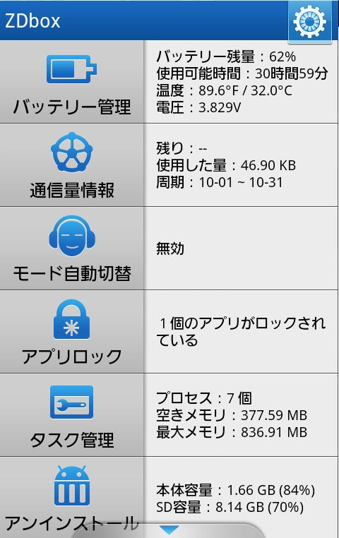 android バッテリー アプリ&ウィジェット ZDbox『正点ツールボックス』