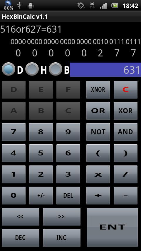 HexBinCalc 16進、2進数同時表示電卓